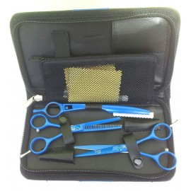 Set kadeřnických nůžek Fox Color modrý