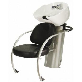 Kadeřnický mycí box Hairway New York II, černý/bílá mísa
