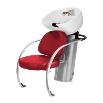 Kadeřnický mycí box Hairway New York II, červený/bílá mísa