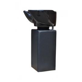 Kadeřnický sloupový mycí box Detail černá noha - černá mísa