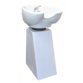 Kadeřnický sloupový mycí box Detail bílá noha - bílá mísa
