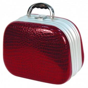 Kadeřnický kufr ovál červený